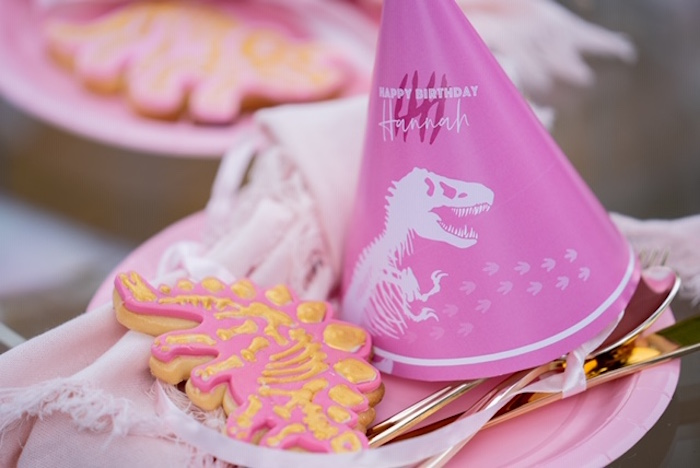 Pink Dinosaur Party Hat + Cookie from a Girly Jurassic World Birthday Party on Kara's Party Ideas | KarasPartyIdeas.com (17)