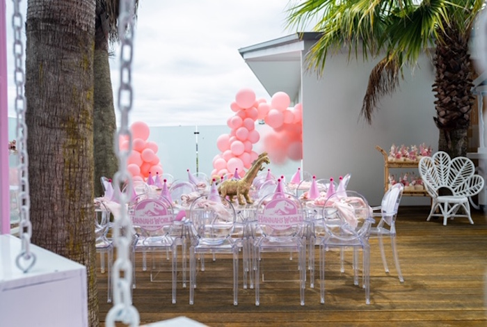 Glam Dinosaur Party Table from a Girly Jurassic World Birthday Party on Kara's Party Ideas | KarasPartyIdeas.com (15)