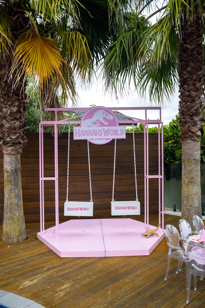 Jurassic World Swing Set form a Girly Jurassic World Birthday Party on Kara's Party Ideas | KarasPartyIdeas.com (13)