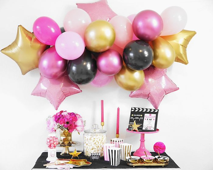 Hollywood Themed Dessert Table from a Glam Movie Night Party on Kara's Party Ideas | KarasPartyIdeas.com (15)