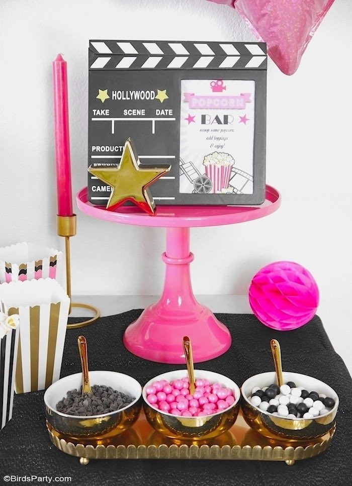 Hollywood Popcorn Bar from a Glam Movie Night Party on Kara's Party Ideas | KarasPartyIdeas.com (13)