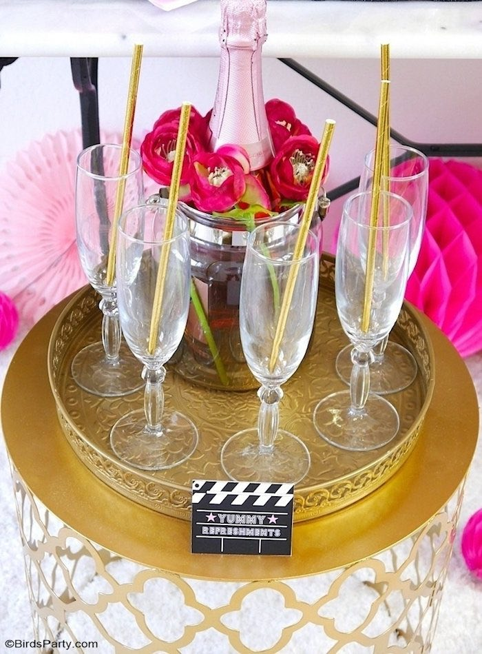 Wine Flutes with Gold Straws from a Glam Movie Night Party on Kara's Party Ideas | KarasPartyIdeas.com (12)