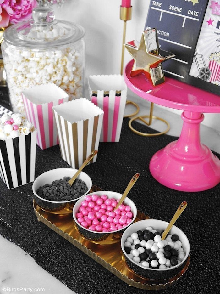 Pink Glam Popcorn Bar from a Glam Movie Night Party on Kara's Party Ideas | KarasPartyIdeas.com (10)