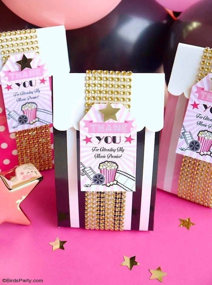 Jeweled Striped Favor Box from a Glam Movie Night Party on Kara's Party Ideas | KarasPartyIdeas.com (8)