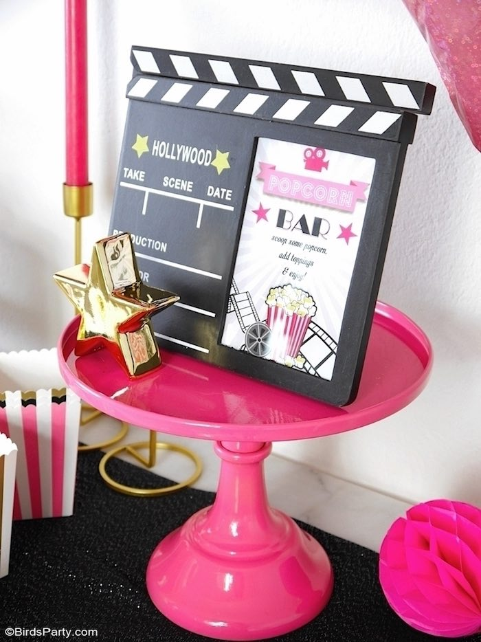 Movie Clapboard Popcorn Bar from a Glam Movie Night Party on Kara's Party Ideas | KarasPartyIdeas.com (7)