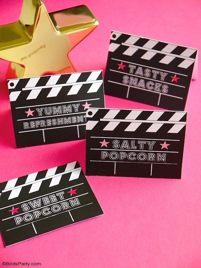 Movie Clapboard Labels from a Glam Movie Night Party on Kara's Party Ideas | KarasPartyIdeas.com (6)