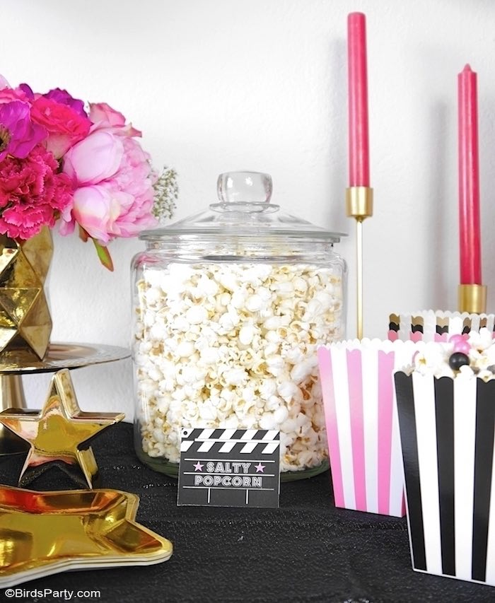 Popcorn from a Glam Movie Night Party on Kara's Party Ideas | KarasPartyIdeas.com (24)
