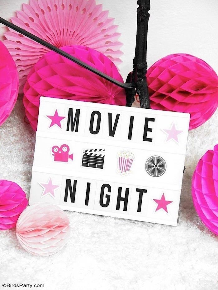Movie Night Lightbox Sign from a Glam Movie Night Party on Kara's Party Ideas | KarasPartyIdeas.com (21)