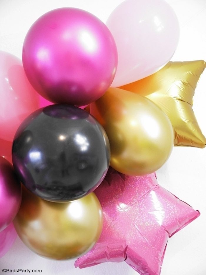 Pink + Gold + Black Balloon Installation from a Glam Movie Night Party on Kara's Party Ideas | KarasPartyIdeas.com (20)