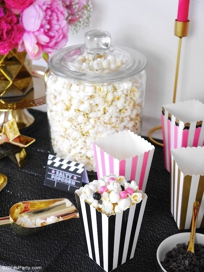 Hollywood Popcorn Bar from a Glam Movie Night Party on Kara's Party Ideas | KarasPartyIdeas.com (19)