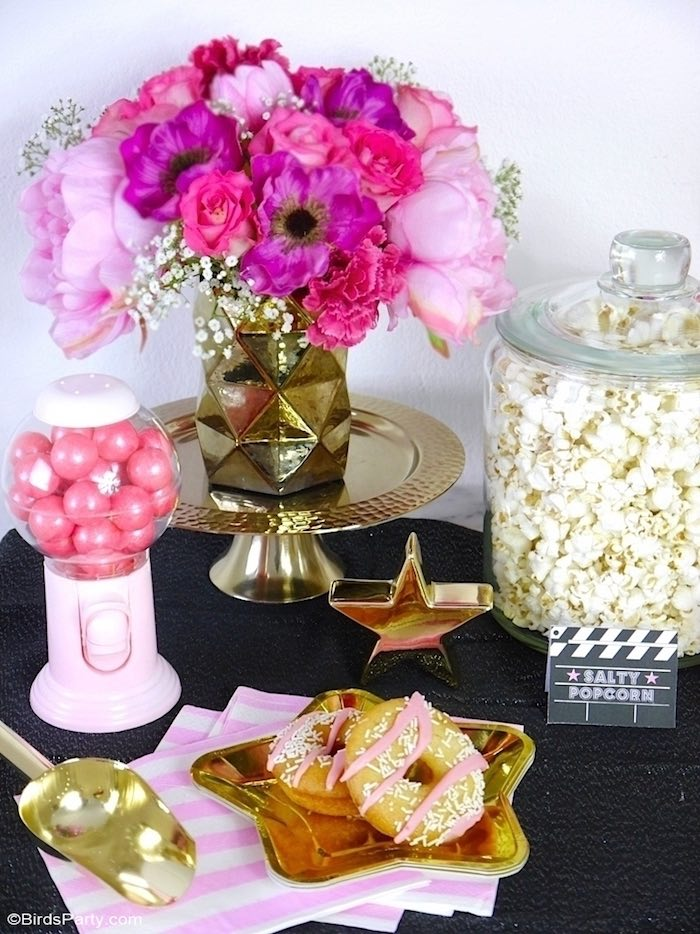 Pink + Gold Hollywood Party Table from a Glam Movie Night Party on Kara's Party Ideas | KarasPartyIdeas.com (18)