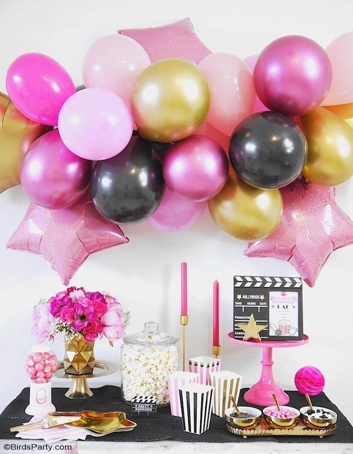 Glam Hollywood Dessert Table from a Glam Movie Night Party on Kara's Party Ideas | KarasPartyIdeas.com (17)