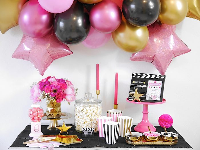 Hollywood Themed Dessert Table from a Glam Movie Night Party on Kara's Party Ideas | KarasPartyIdeas.com (16)
