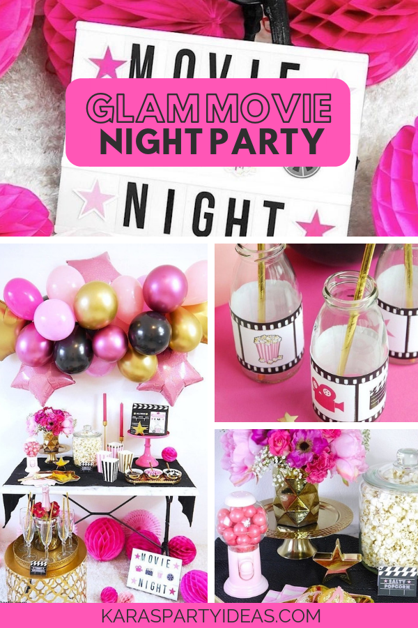 Glam Movie Night Party via Kara's Party Ideas - KarasPartyIdeas.com