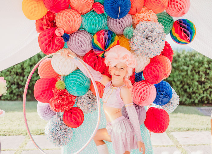 Honeycomb Photo Shoot Backdrop from a Greatest Showman Inspired Circus Party on Kara's Party Ideas | KarasPartyIdeas.com (23)