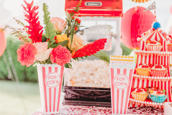 Popcorn Box Floral Arrangement from a Greatest Showman Inspired Circus Party on Kara's Party Ideas | KarasPartyIdeas.com (21)