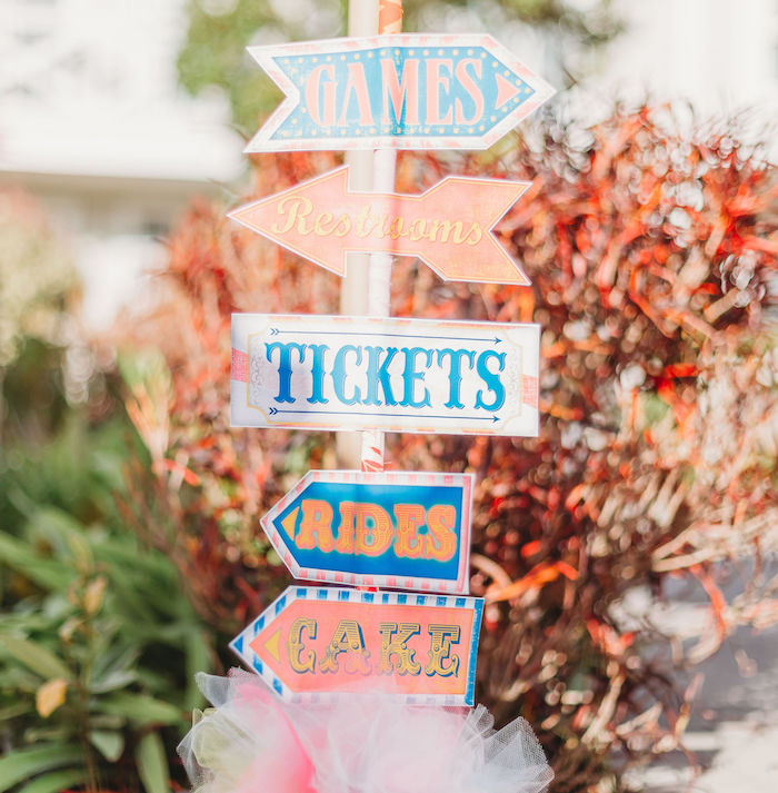 Circus Directional Sign from a Greatest Showman Inspired Circus Party on Kara's Party Ideas | KarasPartyIdeas.com (20)