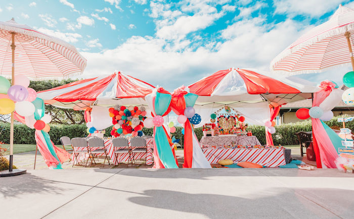 Circus Tent Party Tables from a Greatest Showman Inspired Circus Party on Kara's Party Ideas | KarasPartyIdeas.com (16)