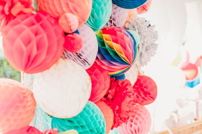 Honeycomb Ball Backdrop from a Greatest Showman Inspired Circus Party on Kara's Party Ideas | KarasPartyIdeas.com (11)