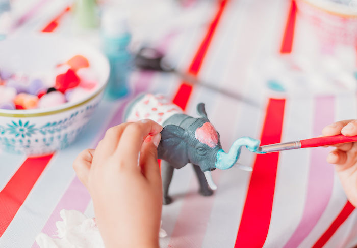 Circus Animal Painting from a Greatest Showman Inspired Circus Party on Kara's Party Ideas | KarasPartyIdeas.com (9)