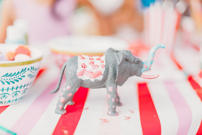 Painted Circus Elephant from a Greatest Showman Inspired Circus Party on Kara's Party Ideas | KarasPartyIdeas.com (5)
