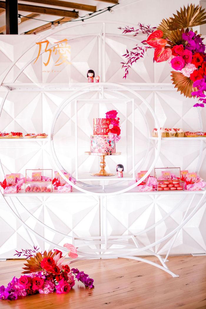 Modern Dessert Spread from a Japanese Themed Birthday Party on Kara's Party Ideas | KarasPartyIdeas.com (27)