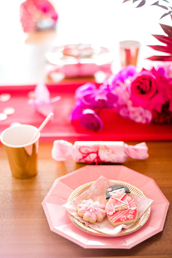 Pink + Gold Table Setting from a Japanese Themed Birthday Party on Kara's Party Ideas | KarasPartyIdeas.com (11)