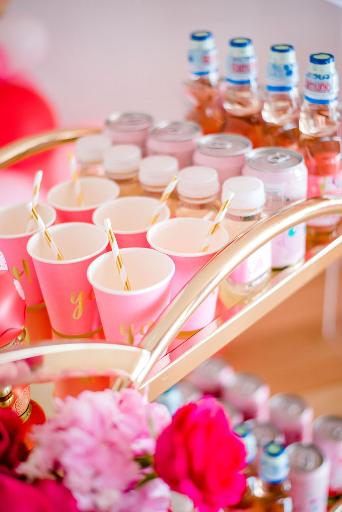 Pink Paper Cups + Soda Cans + Drink Bottles from a Japanese Themed Birthday Party on Kara's Party Ideas | KarasPartyIdeas.com (40)