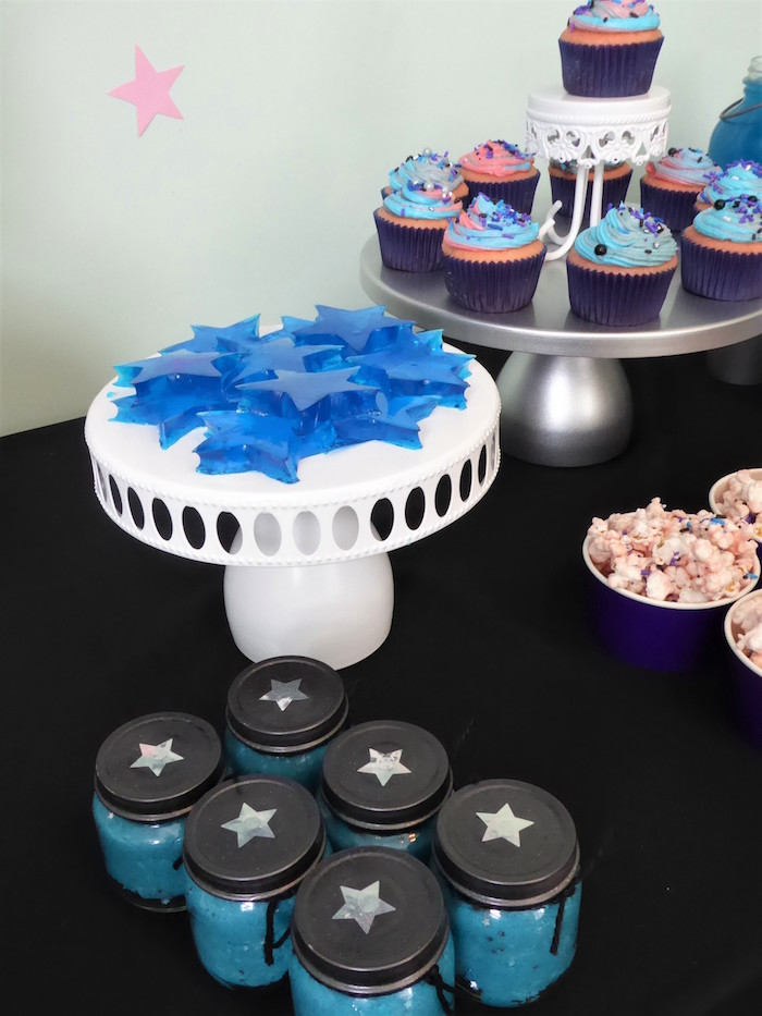 Star jars and sweets from a Twinkling Star Galaxy Party on Kara's Party Ideas | KarasPartyIdeas.com