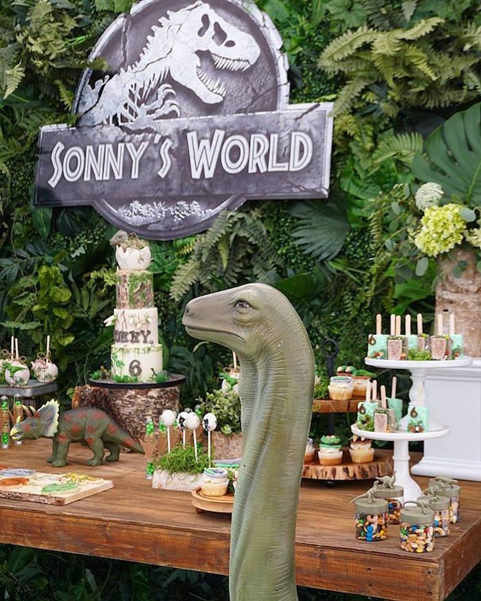 Dinosaur Themed Dessert Table from a Jurassic Park Dinosaur Birthday Party on Kara's Party Ideas | KarasPartyIdeas.com (13)