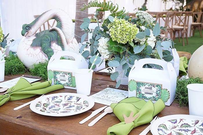 Dinosaur Themed Table Settings from a Jurassic Park Dinosaur Birthday Party on Kara's Party Ideas | KarasPartyIdeas.com (10)
