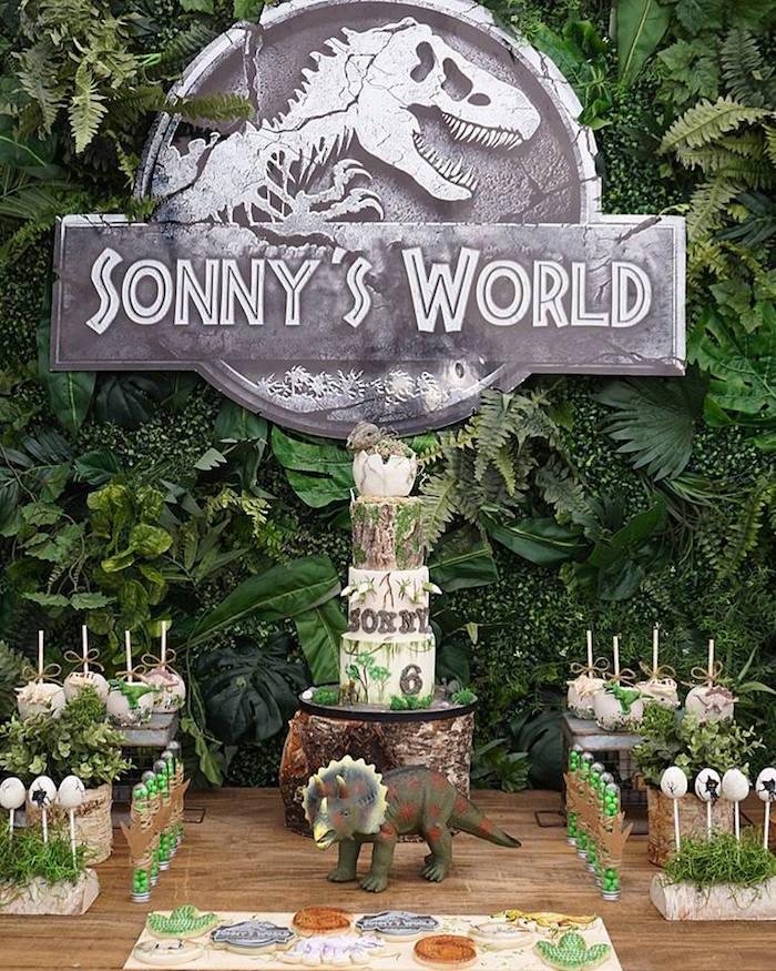 Sonny's World Cake Table from a Jurassic Park Dinosaur Birthday Party on Kara's Party Ideas | KarasPartyIdeas.com (9)