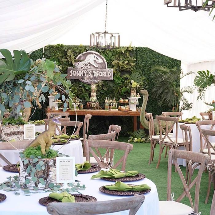 Dinosaur Themed Party Tables from a Jurassic Park Dinosaur Birthday Party on Kara's Party Ideas | KarasPartyIdeas.com (7)