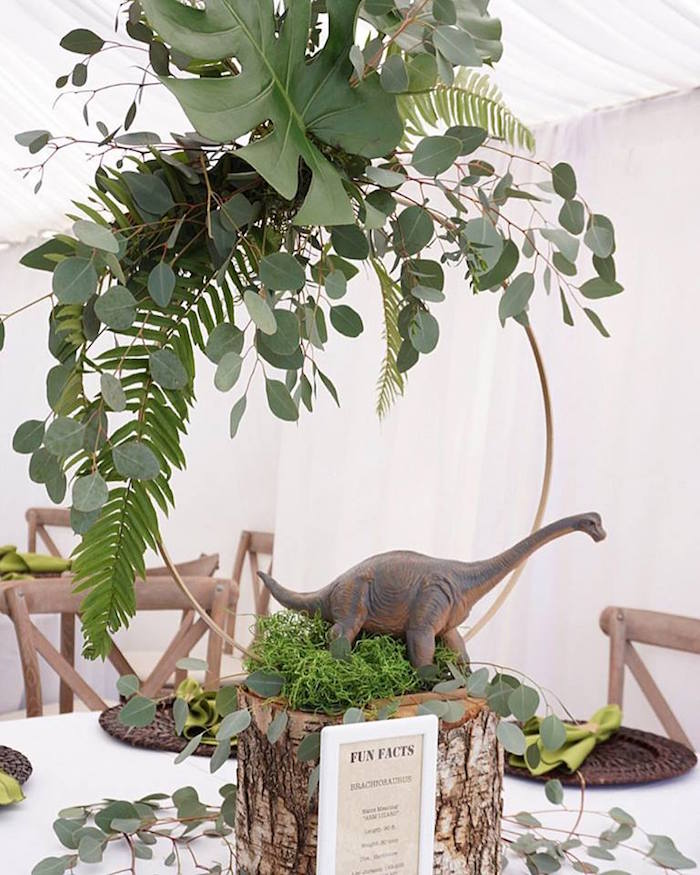 Dinosaur Themed Table Centerpiece from a Jurassic Park Dinosaur Birthday Party on Kara's Party Ideas | KarasPartyIdeas.com (19)