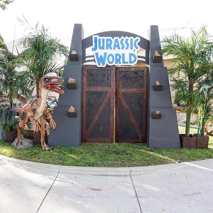 Jurassic World Party Entrance from a Jurassic Park Dinosaur Birthday Party on Kara's Party Ideas | KarasPartyIdeas.com (18)