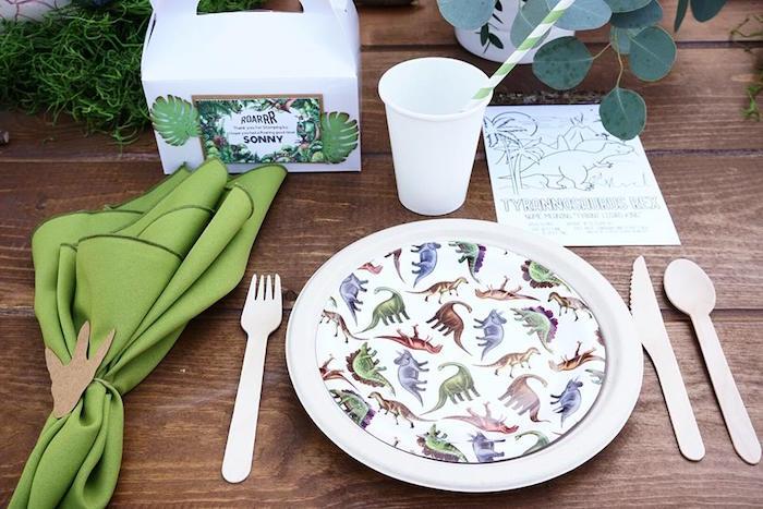 Dinosaur Themed Table Setting from a Jurassic Park Dinosaur Birthday Party on Kara's Party Ideas | KarasPartyIdeas.com (17)