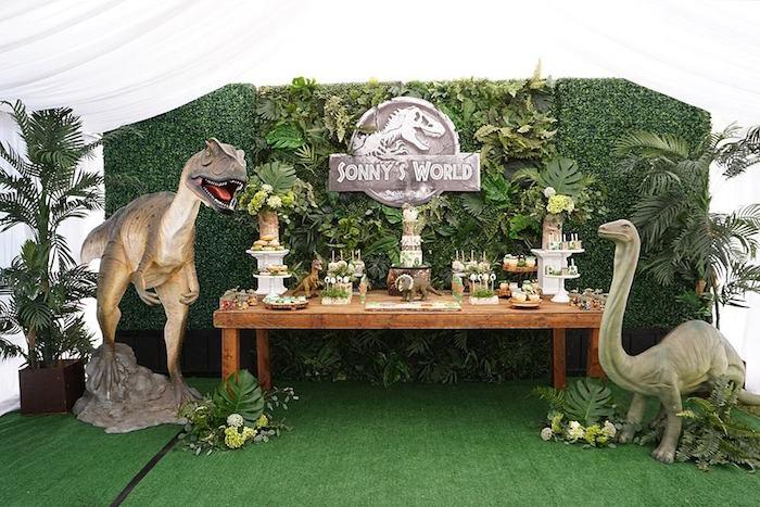 Dinosaur Dessert Table from a Jurassic Park Dinosaur Birthday Party on Kara's Party Ideas | KarasPartyIdeas.com (15)