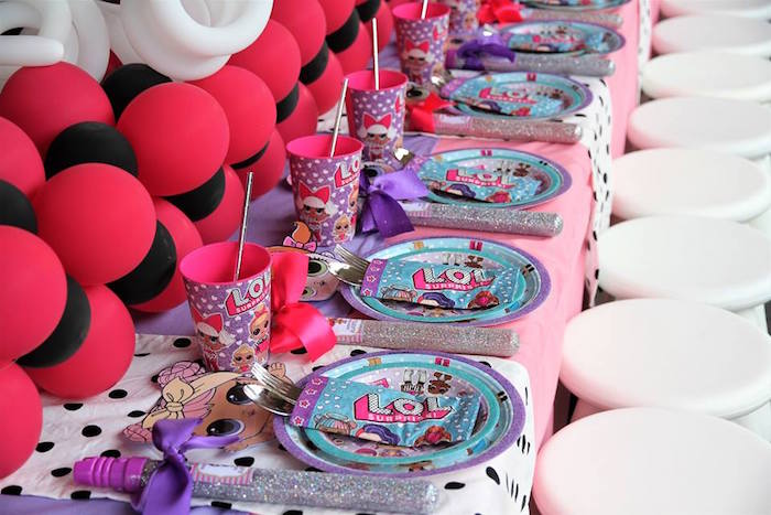 L.O.L. Surprise Themed Table Settings + Kid Table from an L.O.L. Surprise Birthday Party on Kara's Party Ideas | KarasPartyIdeas.com (21)