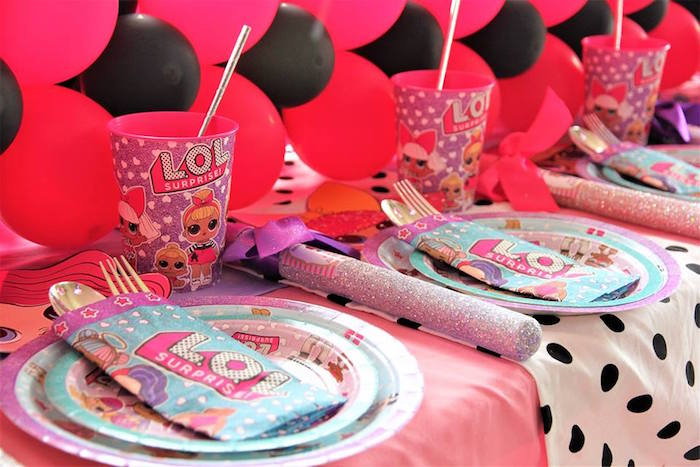 L.O.L. Surprise Themed Table Settings from an L.O.L. Surprise Birthday Party on Kara's Party Ideas | KarasPartyIdeas.com (14)