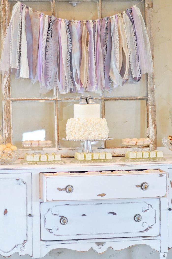 Dessert Table Vintage Lavender and Silver Baby Shower for Kara's Party Ideas | Kara Allen-5