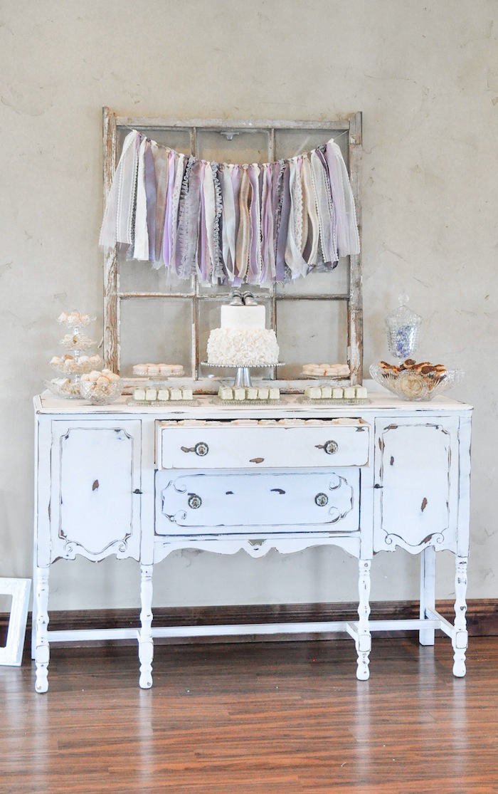 Dessert Table at a Vintage Lavender and Silver Baby Shower for Kara's Party Ideas | Kara Allen-5