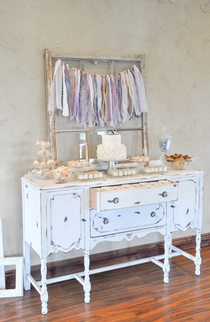 Antique Hutch Dessert Table Vintage Lavender and Silver Baby Shower for Kara's Party Ideas | Kara Allen-5