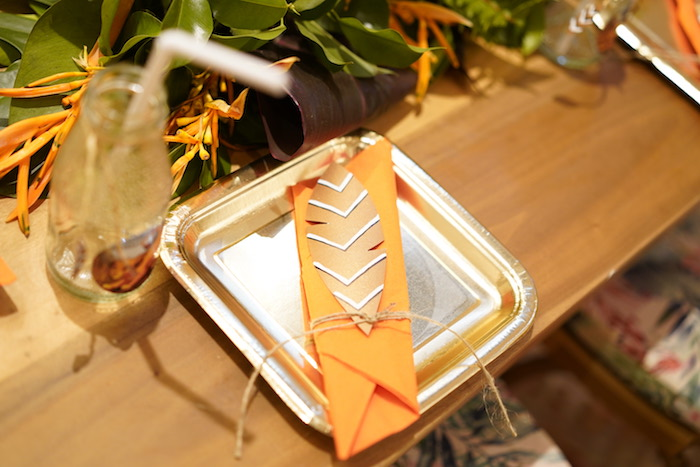 """Tribal Table Setting from a Lion King """"Circle of Life"""" Party on Kara's Party Ideas 