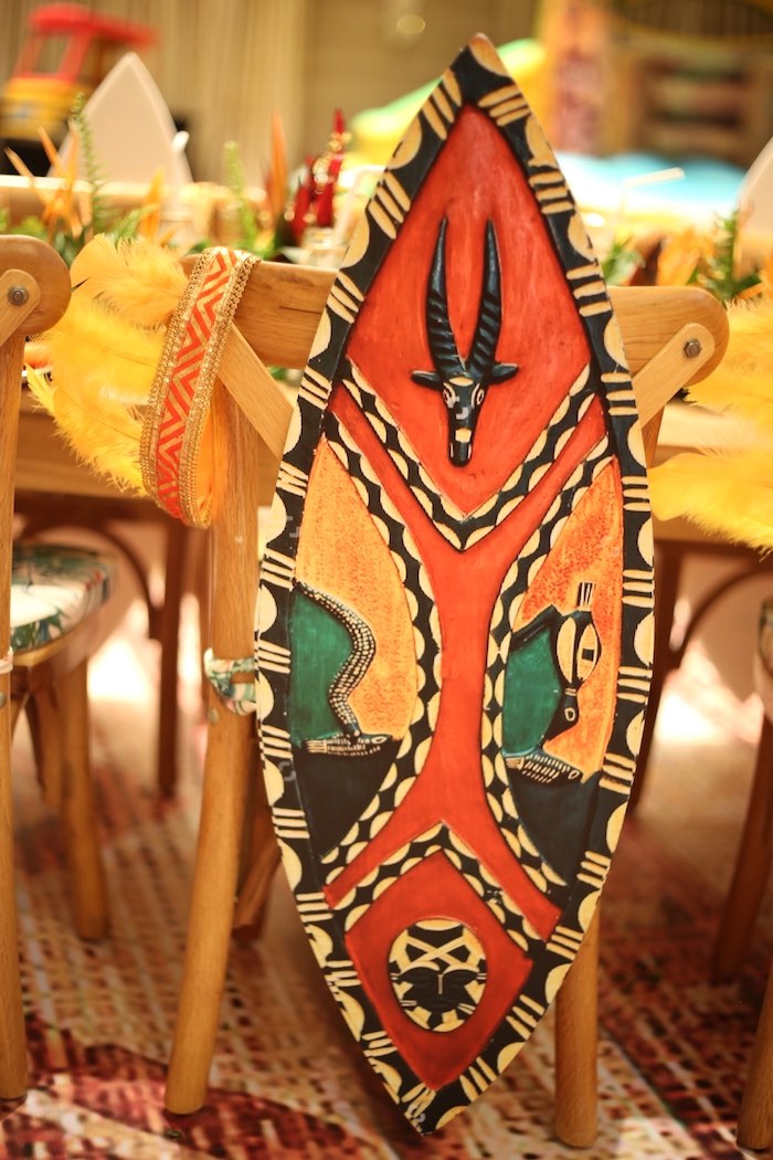 "Tribal Chair Back from a Lion King ""Circle of Life"" Party on Kara's Party Ideas 