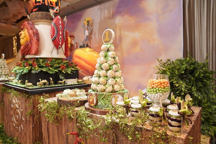 "Jungle Themed Sweet Table from a Lion King ""Circle of Life"" Party on Kara's Party Ideas 