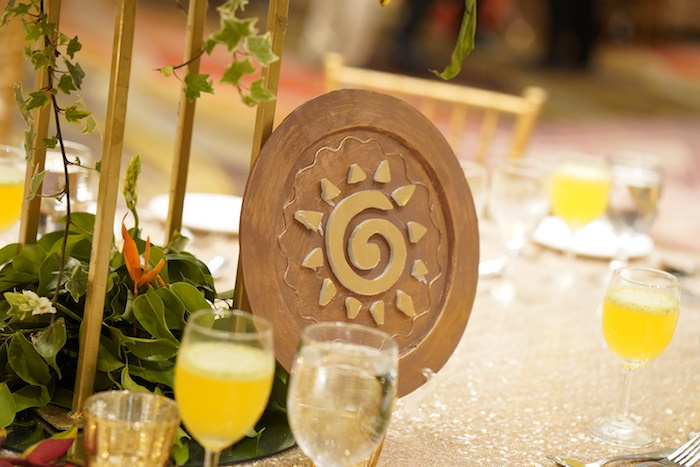 "Tribal Sun Table Centerpiece from a Lion King ""Circle of Life"" Party on Kara's Party Ideas 