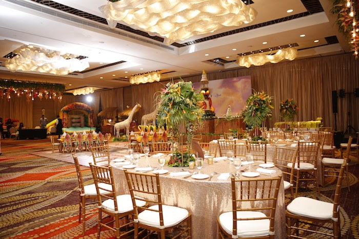 "Jungle Themed Guest Tables from a Lion King ""Circle of Life"" Party on Kara's Party Ideas 