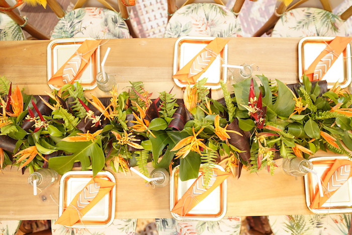 "Jungle Themed Dining Table from a Lion King ""Circle of Life"" Party on Kara's Party Ideas 