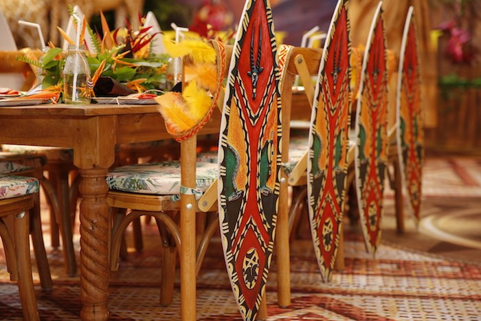 "Tribal Party Chairs from a Lion King ""Circle of Life"" Party on Kara's Party Ideas 
