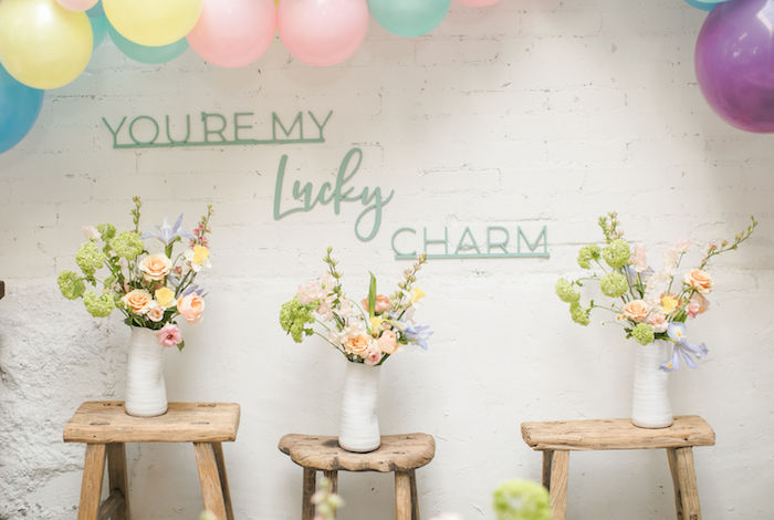 You're My Lucky Charm Flower Bloom Backdrop from a Lucky Charms St. Patrick's Day Party on Kara's Party Ideas | KarasPartyIdeas.com (24)